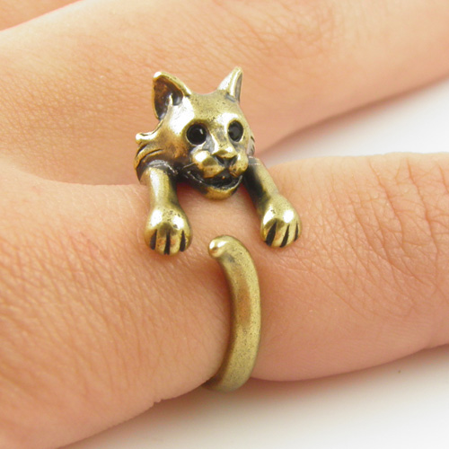Bobcat Animal Wrap Ring - Gold
