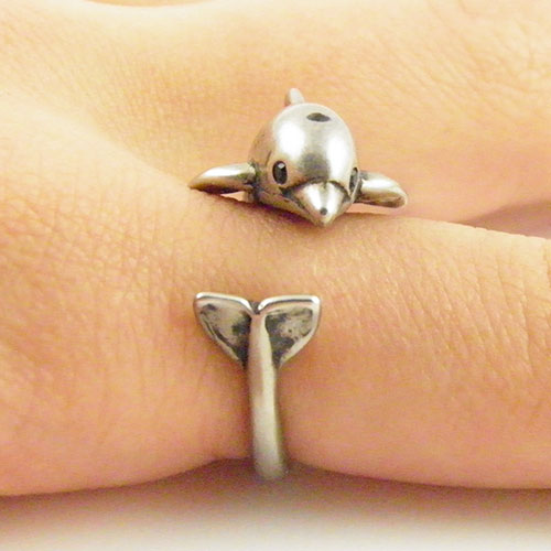 Dolphin - Animal Wrap RIng - Silver