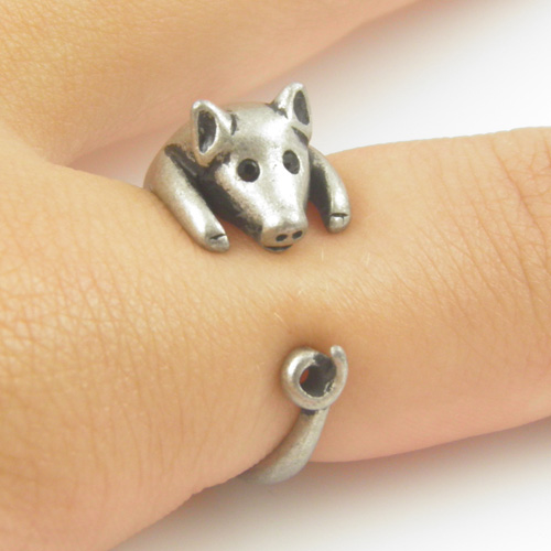 Lucky Pig Animal Wrap Ring - Silver