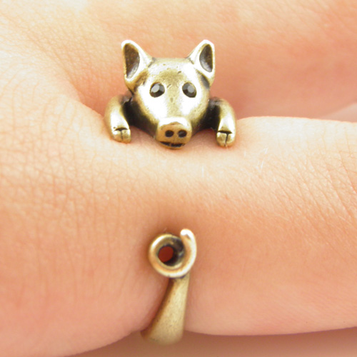 Lucky Pig Animal Wrap Ring - Gold