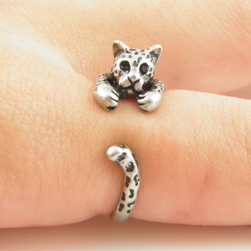 Leopard Animal Wrap Ring - Silver