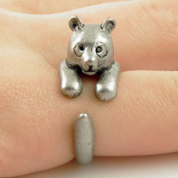 Animal Wrap Ring - Silver Bear